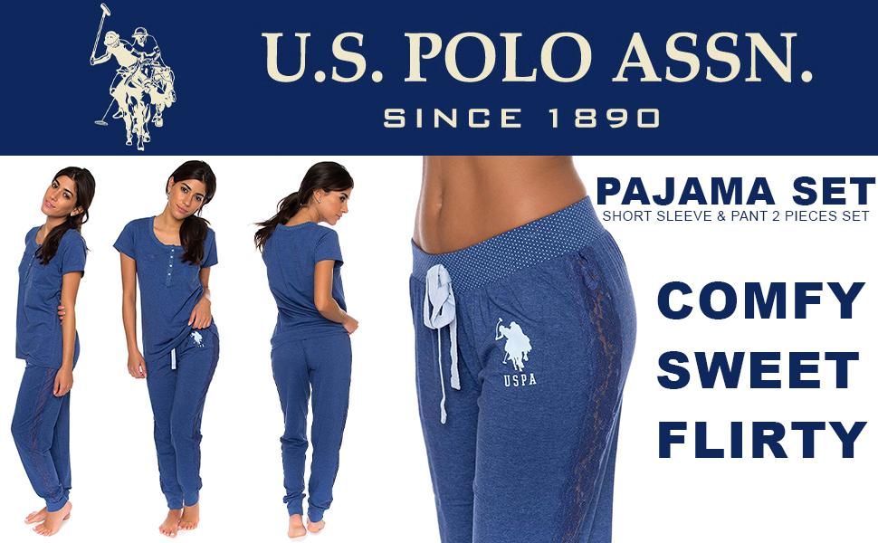 us polo comfy sweet flirty pajama set to bottom jogger blue sleepwear