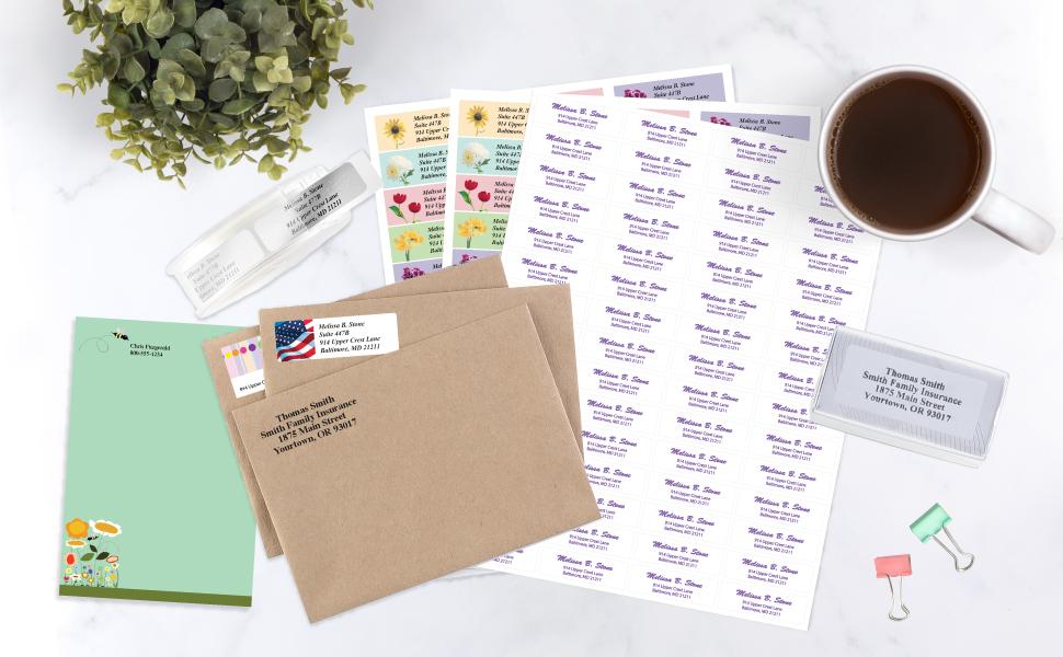 return address labels custom personalized stamp stamper post-it