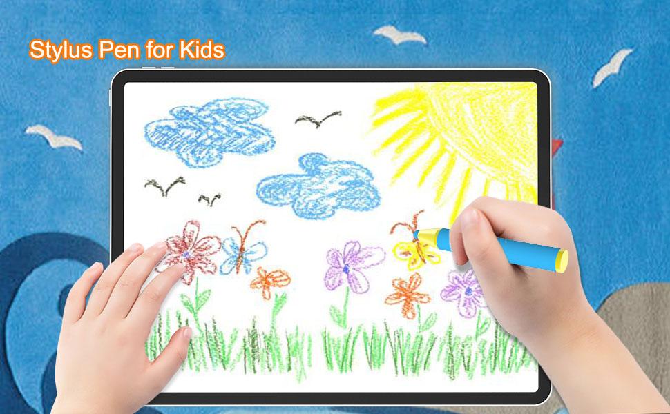 儿童蜡笔与平板