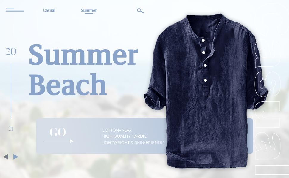 Mens Grandad Shirt Linen Shirt 3/4 Sleeve Casual Shirt Summer Shirt Vintage T Shirt Henley Shirt