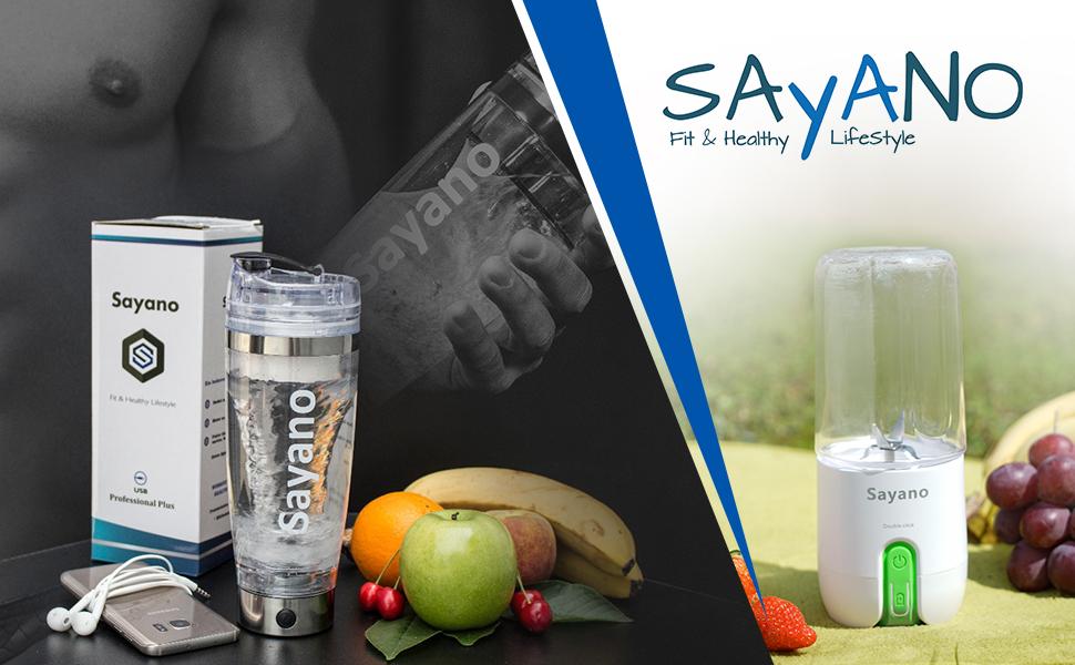Sayano Professional Plus - Agitador/Batidor eléctrico de Proteinas portátil (USB) con deposito por proteinas - Plata