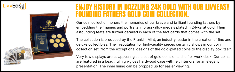 Franklin Mint Founding Fathers Coin Collection 7 Piece 24-Karat Gold-Plated Wood Metal Storage Box