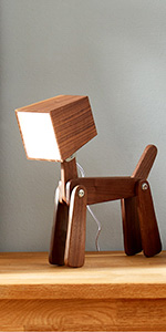 Dog Table Lamp Walnut