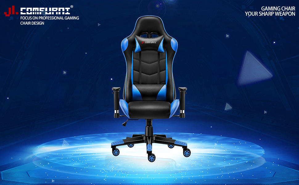 Amazon Com Jl Comfurni Gaming Chair Racing Style Ergonomic Swivel Computer Office Desk Chairs Adjustable Height Reclining High Back With Lumbar Cushion Headrest Leather Gamer Chair Blue Kitchen Dining