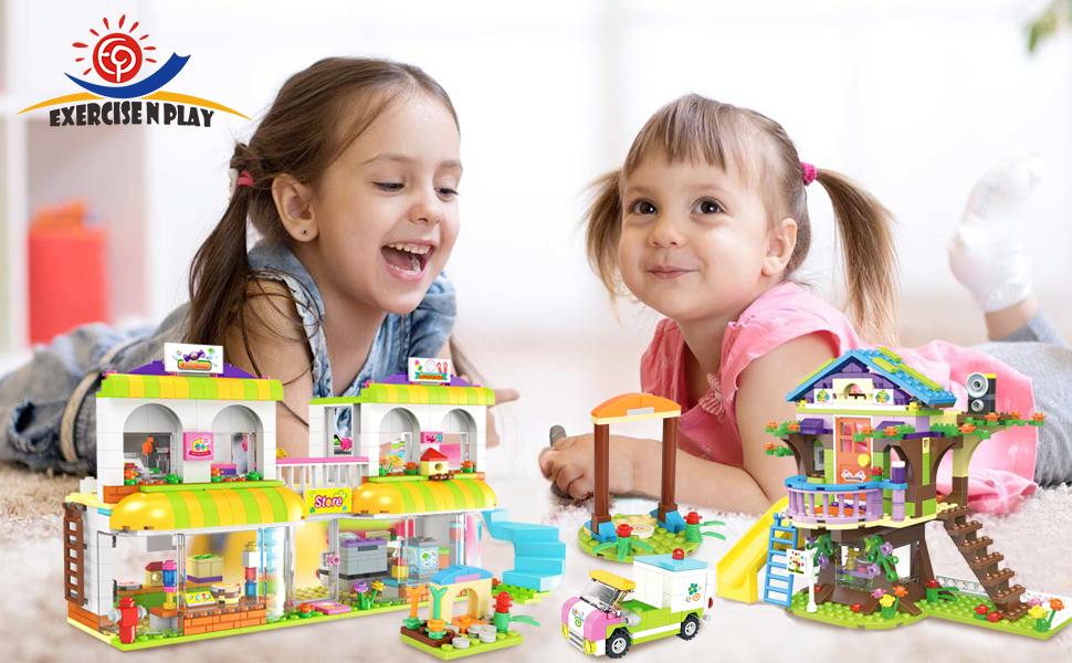 lego friends friendship house heartlake city hair Salon Tree House shopping market building toy set