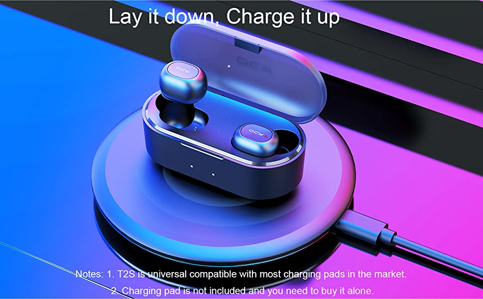 QCY T2S Kopfhörer Bluetooth Wireless Headset TWS Stereo Wirelss Charge Function