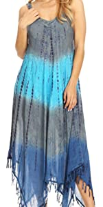 long loose floral print straps fringe high low maxi summer casual cover up caftan beach sleeveless