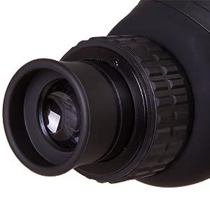 Levenhuk Blaze BASE 50F Spotting Scope: angled eyepiece with a dense rubber eyecup