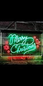 ADVPRO Dual Color LED Neon Sign light Merry Christmas Xmas star big font text warm atmosphere