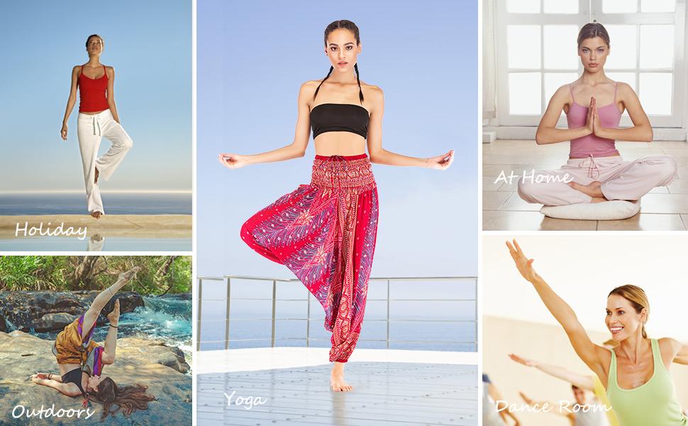 FEOYA Mujer Pantalones Bombachos de Yoga Cintura Alta Pantalones Deportivos Holgados Pantalones Casuales Tailandeses para Yoga Fitness Danza