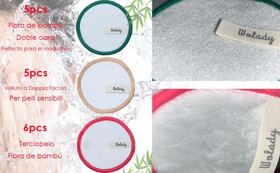 Resistentes Bolsa para su lavado y transporte Discos Desmaquillantes Reutilizables de Algod/ón Ecol/ógico y suaves Fibras de Bamb/ú Lavables Aptos para todo tipo de piel 16 Almohadillas Eco-friendly