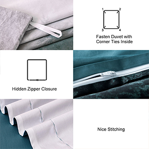 The invisible side zipper closure easily allows you to insert and remove your duvet.