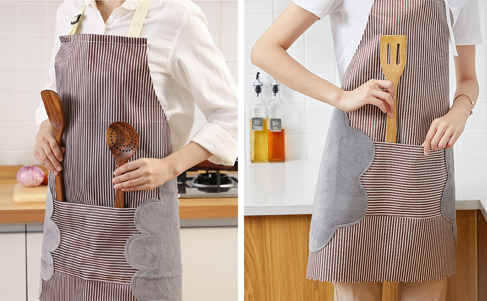 Suitable for Cooking Housework BBQ Coffee for Men Women Chef PrettyWit Adjustable Wipe Hands Bib Apron with Large Pocket