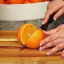 Slicing an orange