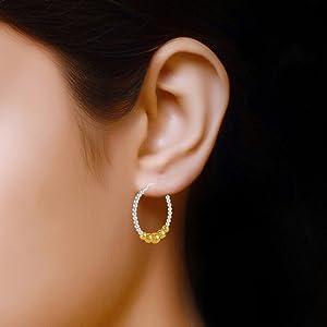 Light-Weight Double Diamond Cut hoop Earring
