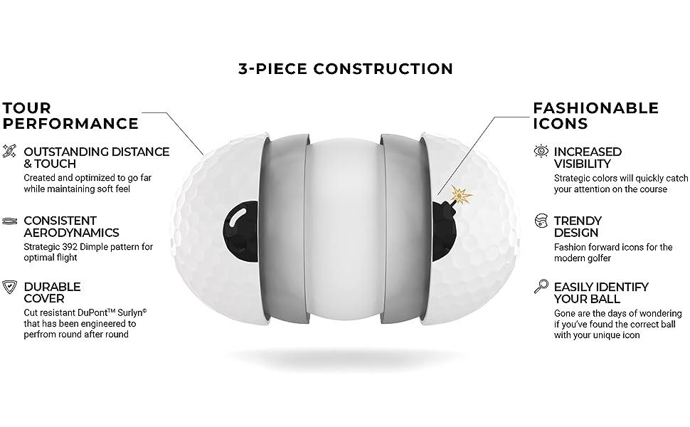 Tour information, 3 piece construction, golf balls