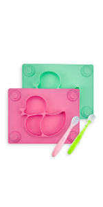 silicone baby placemat with baby spoons