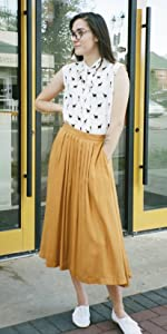 LaVieLente Women's Midi Rayon Skirt In Yellow