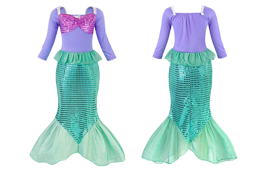 Little Girls Dress Mermaid Outfits Costume Princess Birthday Party Cosplay Clothes Sequins HG023-11