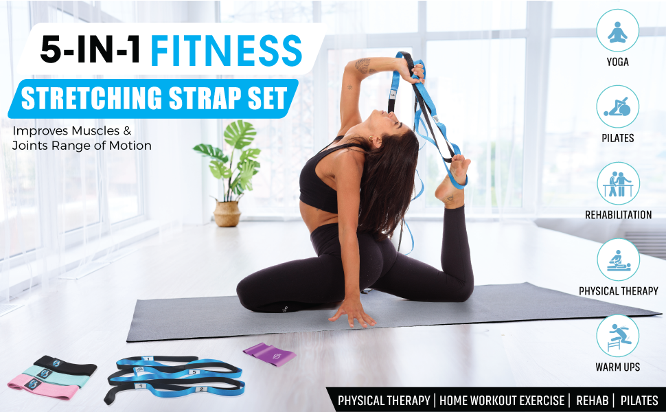 invincible fitness stretching strap set