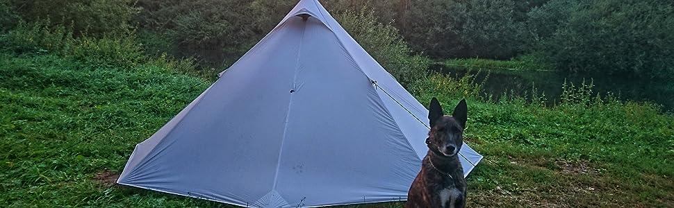 OneTigris Black Orca Chimney - Tienda de campaña Tipi con agujero para horno, 2 personas, para trekking, camping, exterior, doble carpa resistente al ...