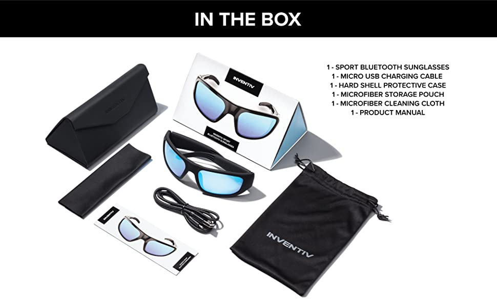 What's comes in the box, bluetooth glasses, leather case, soft pouch, cloth, user manual