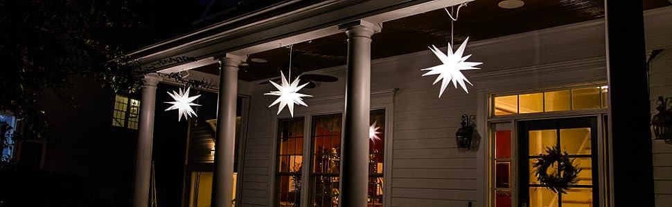 moravian light star decorations, christmas lights, christmas decorations, christmas porch light