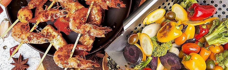 Der Korb-Fisch Vege Grillt Rostfreier BBQ-Grill Im Freien