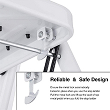 Easy folding capability combined with a locking mechanism to ensure security and stability