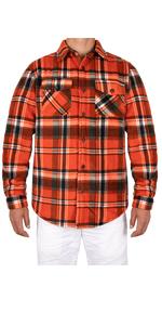 Mens Warm Sherpa Lined Plaid Flannel Shirt Jac