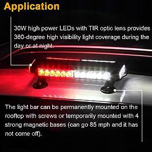 waterpoof 12V 24V red white LED strobe light bar