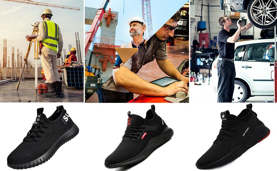 SUADEEX Chaussure de Securit/é Homme Femmes Chaussures de Travail avec Embout de Protection en Acier Chaussure