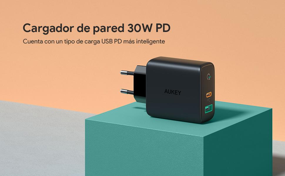 AUKEY USB C Cargador de Red con Dynamic Detect, 30W Cargador Móvil con Power Delivery 3.0 para iPhone 11 Pro / 11 Pro Max / 11, Galaxy S10 / Note9, ...