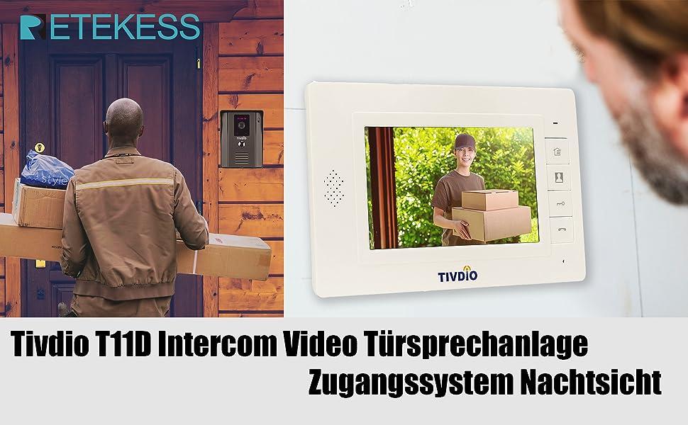 R/ückruf /Überwachung Zwei-Wege-Gegensprechanlage Video-T/ürsprechanlage T/ürklingel 7-Zoll-Digitalkamera-Nachtsichtkabel Video Intercom Home Security System-Unterst/ützung Entsperren EU-Stecker