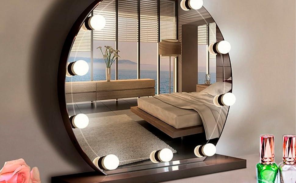 Hollywood Stil LED Spiegelleuchte,Aourow schminktisch Licht mit Schalter und 10 dimmbaren Glühbirnen