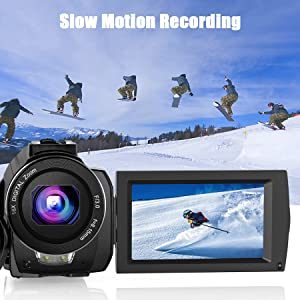 slow motion  Video Camera Camcorder with Microphone, VideoSky 42MP HD 1080P 30FPS Digital Recording Camcorders for YouTube 64 GB Memory Card Vlogging IR Night Webcam Time-Lapse Slow Motion,Touch Screen, Lens Hood 5235becc 72b2 4898 af17 34b0b019a05d