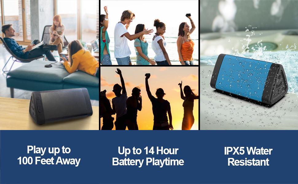 OontZ Angle 3 bluetooth speaker ipx5 waterproof 14 hrs battery life outdoor travel speaker pool golf