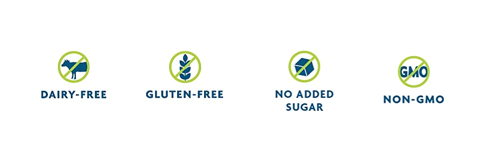 dairy-free, gluten-free, no sugar added, no added sugar, non-gmo