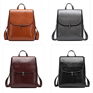 Heshe Women's Leather Backpack Casual Style Flap Backpacks Daypack for Ladies