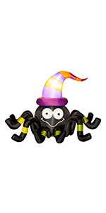 Inflatable Gaint Animated Spider With Witch Hat