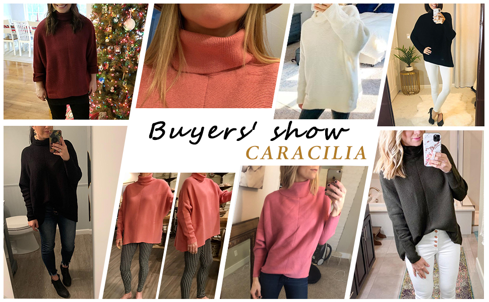 Caracilia sweaters for women batwing sleeve turtleneck oversized tunic sweater dress
