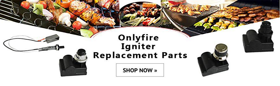 onlyfire Kit d'allumage à batterie avec bouton-poussoir pour barbecue à gaz Weber Spirit Genesis, platine, argent et or
