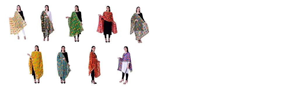 Colorful Phulkari Dupatta