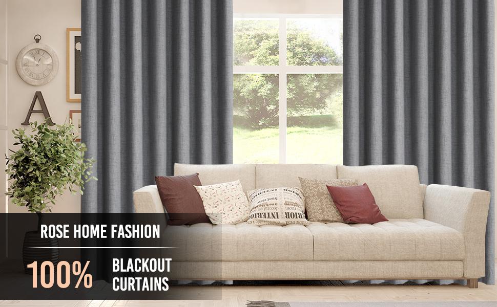Rose Home Fashion 100% Blackout Curtains