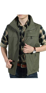 Mens Casual Lightweight Outdoor Fleece Lined Travel Vest Jacket Outerwear