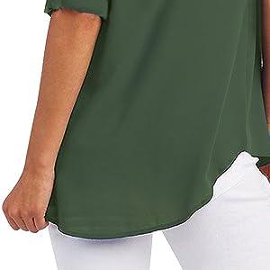Camicetta Donna Cerniera Bluse e Camicie Elegante Tunica Chiffon Shirt Camicie OL Casual Loose Top