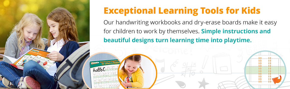 Our handwriting workbooks and dry-erase boards make it easy for children to work by themselves.