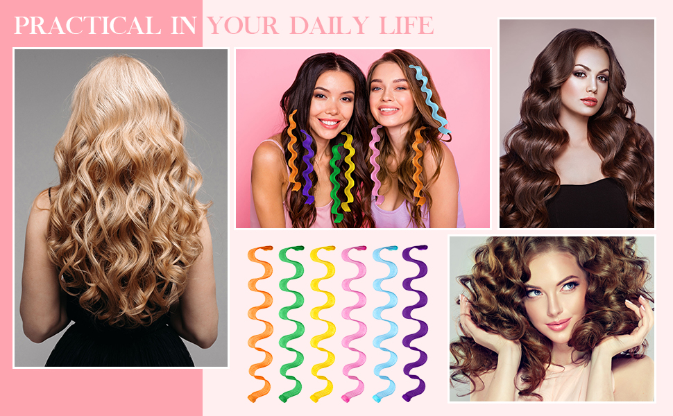 Hair Curlers Spiral Curls Styling Kit, No Heat Hair Curlers