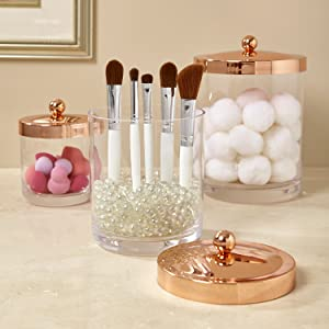 makeup organizer canisters
