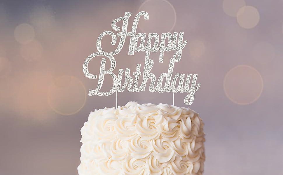 Happy birthday silver Cake Topper Rhinestones Party Decoration supplies